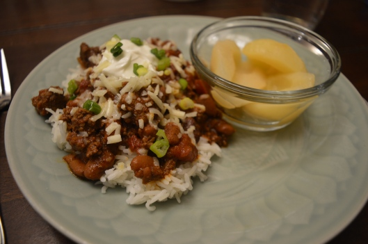 texas chili rice beans pears toppings cheese