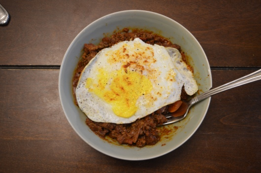 chili rice fried egg breakfast bowl