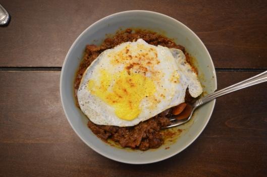 chili rice fried egg breakfast bowl