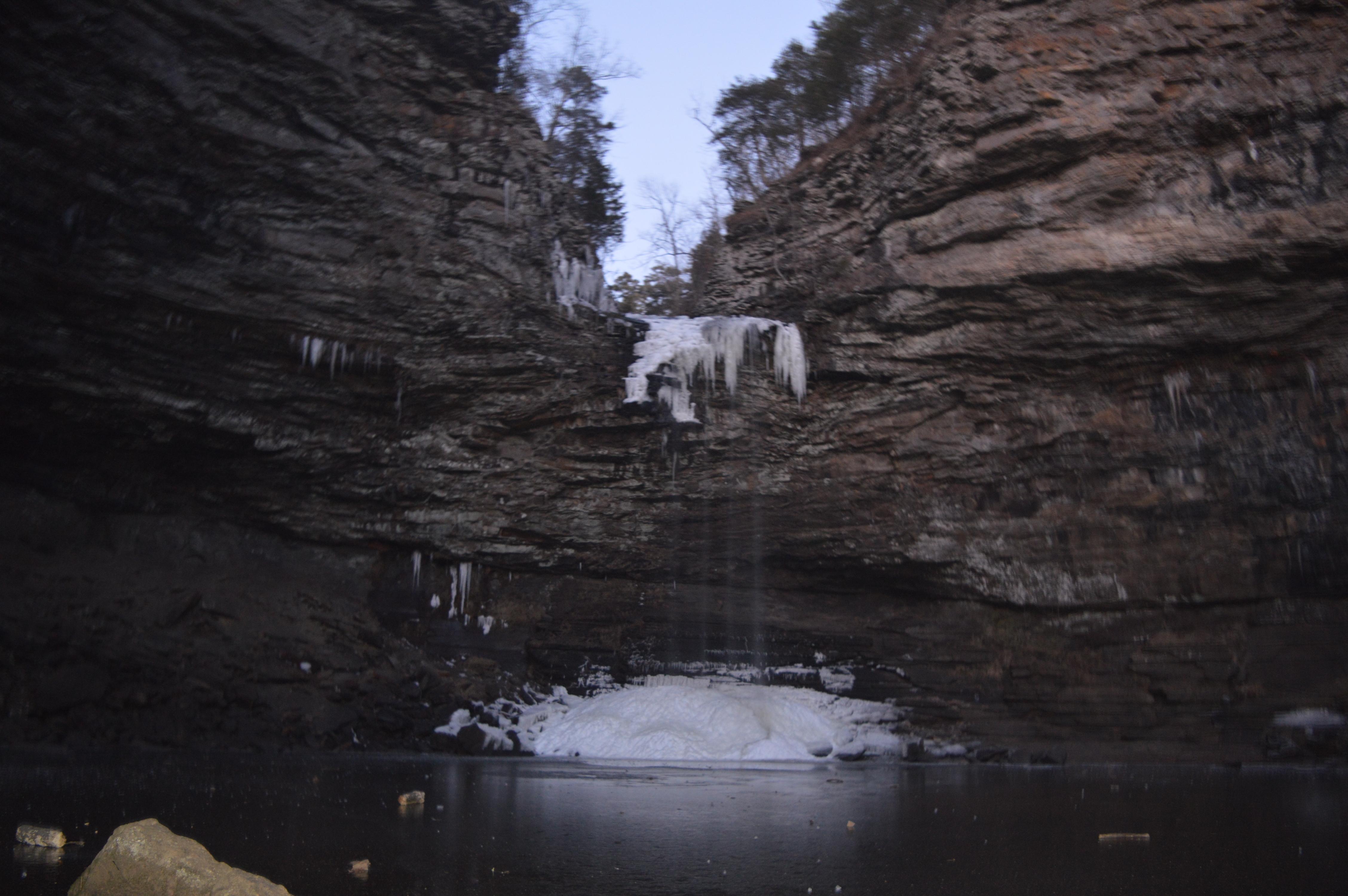 petit jean cedar creek falls frozen