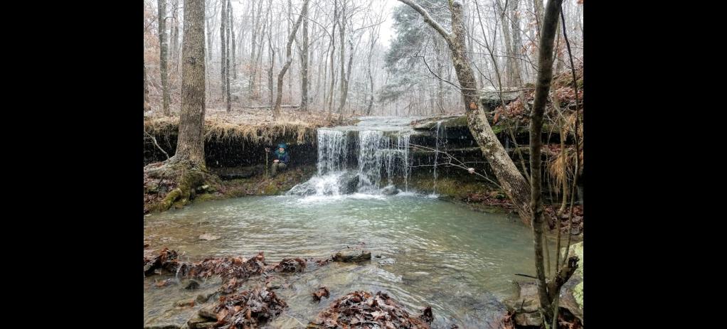 frozen waterfall Arkansas outdoor habit hike