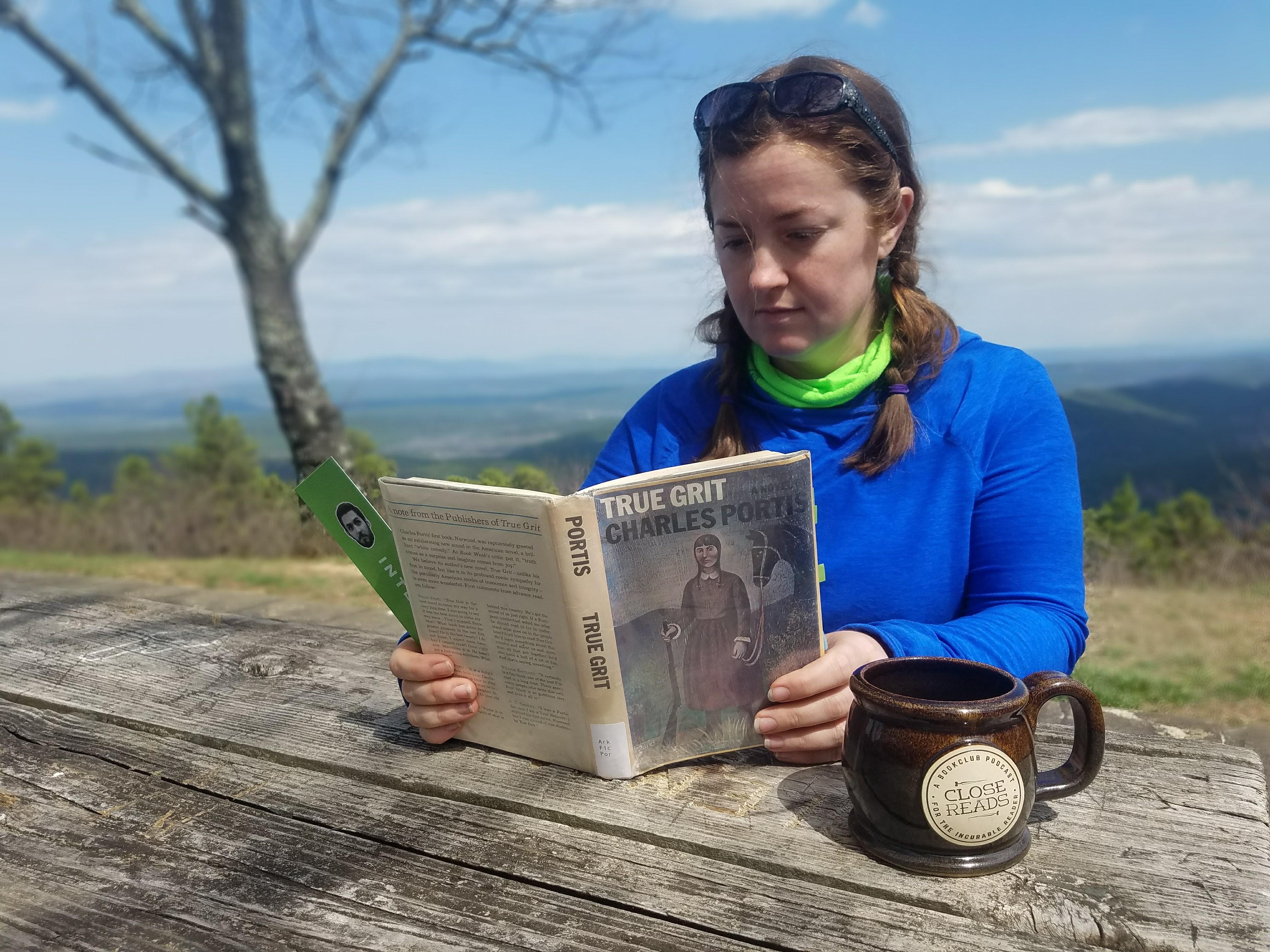 True Grit book outdoor hike